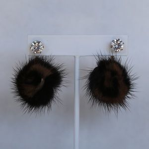 NWT 2 IN 1 BIG RHINESTONE & BROWN POM POM EARRING
